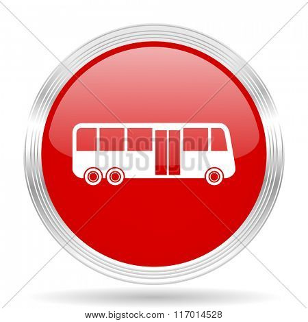 bus red glossy circle modern web icon on white background