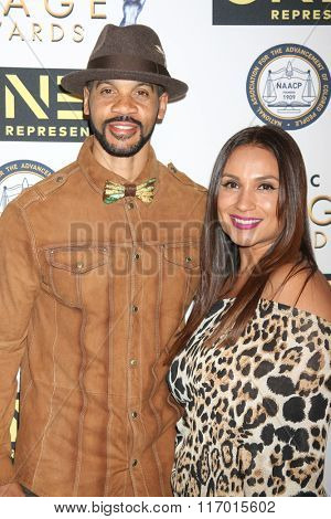 LOS ANGELES - FEB 4:  Aaron D. Spears, Estela Lopez-Spears at the Non-Televised 47TH NAACP Image Awards at the Pasadena Conference Center on February 4, 2016 in Pasadena, CA