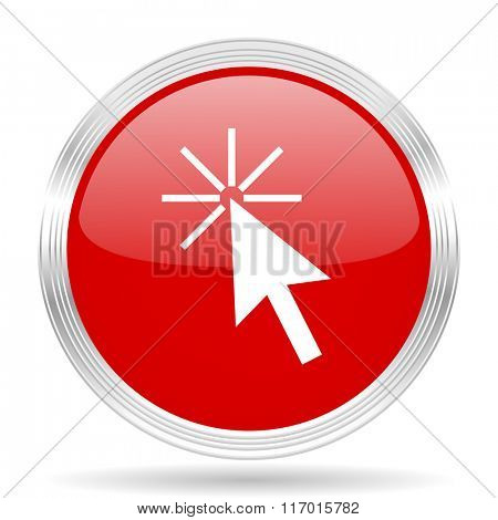 click here red glossy circle modern web icon on white background