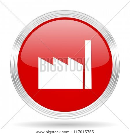 factory red glossy circle modern web icon on white background