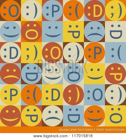 seamless vector pattern with emoticons text symbols