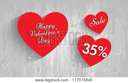 Valentine`s Day Sale,  35  Percent Discount. Vector Eps 10..