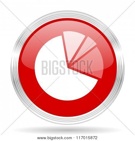 diagram red glossy circle modern web icon on white background