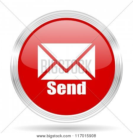 send red glossy circle modern web icon on white background