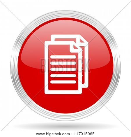 document red glossy circle modern web icon on white background
