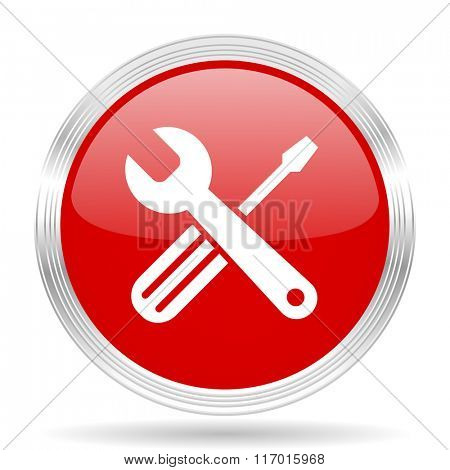 tools red glossy circle modern web icon on white background