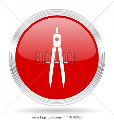 learning red glossy circle modern web icon on white background
