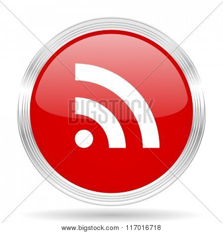 rss red glossy circle modern web icon on white background