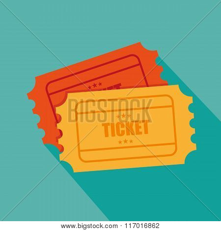 Tickets Icon. Retro Cinema Tickets. Movie Ticket In Flat Style