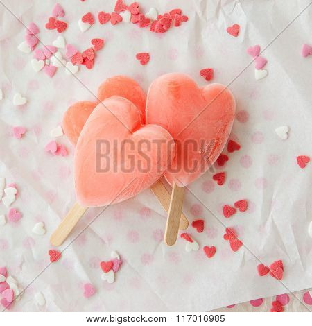 Ice Cream Pops In Heart Shape