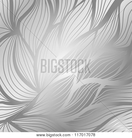 Luxury Silver Vintage Floral Vector Abstract Background