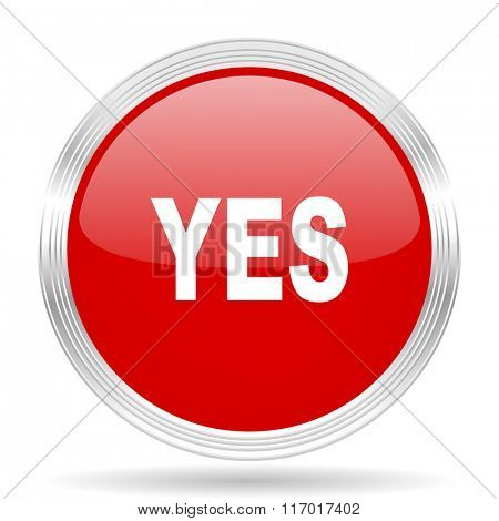yes red glossy circle modern web icon on white background