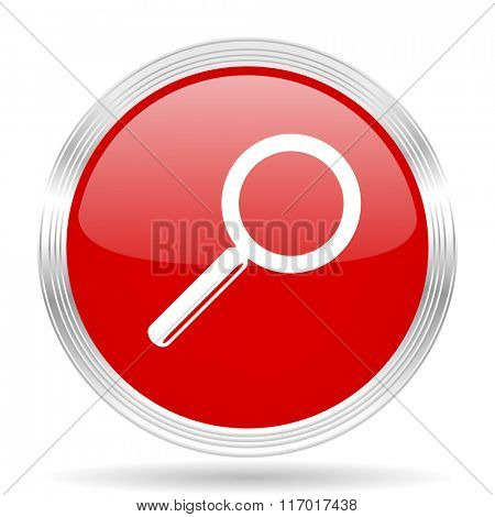 search red glossy circle modern web icon on white background