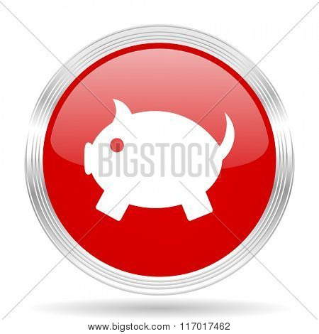 piggy bank red glossy circle modern web icon on white background