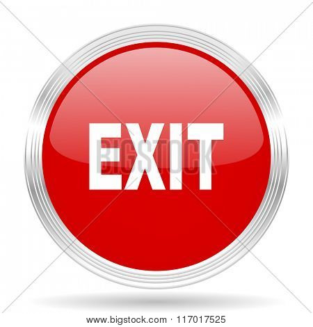 exit red glossy circle modern web icon on white background