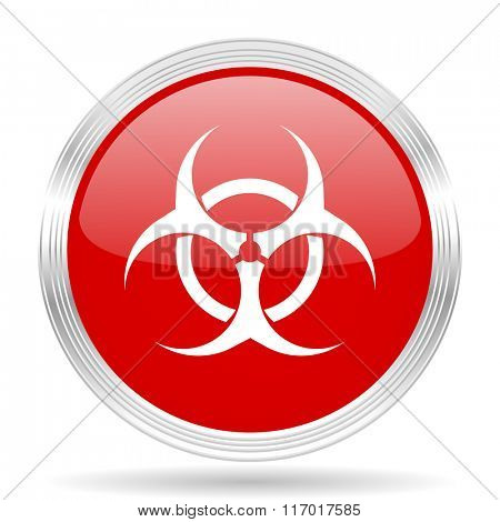 biohazard red glossy circle modern web icon on white background