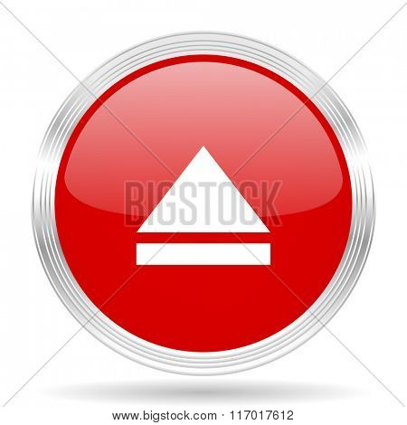 eject red glossy circle modern web icon on white background