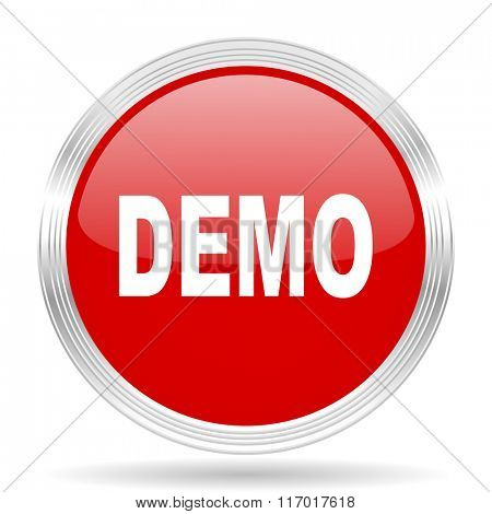 demo red glossy circle modern web icon on white background