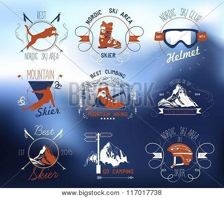 Skiing logo. Mountain skating logo mark. Mountains, snow, outdoor sign, logo, symbol.