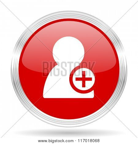 add contact red glossy circle modern web icon on white background