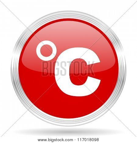 celsius red glossy circle modern web icon on white background