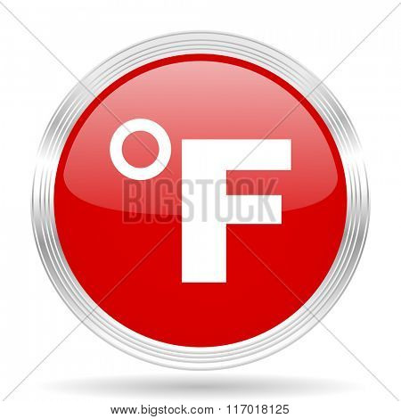 fahrenheit red glossy circle modern web icon on white background