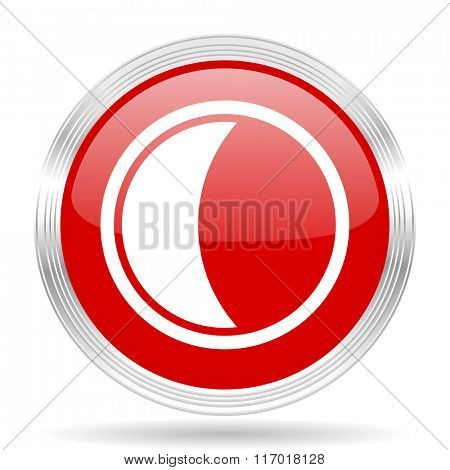 moon red glossy circle modern web icon on white background