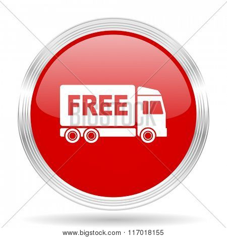 free delivery red glossy circle modern web icon on white background