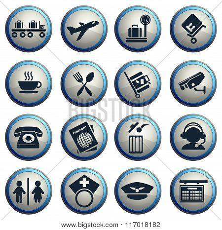 Airport icons set