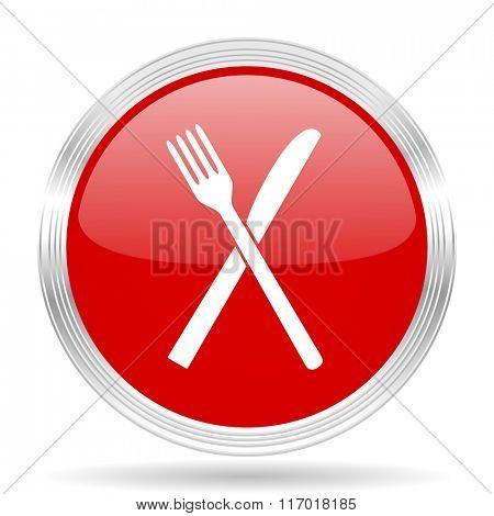 restaurant red glossy circle modern web icon on white background
