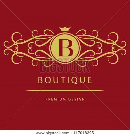 Monogram Design Elements, Graceful Template. Calligraphic Elegant Line Art Logo Design. Letter B. Bu