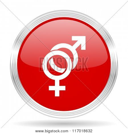 sex red glossy circle modern web icon on white background