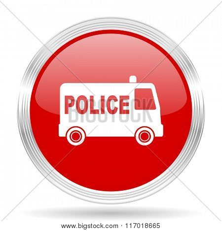 police red glossy circle modern web icon on white background
