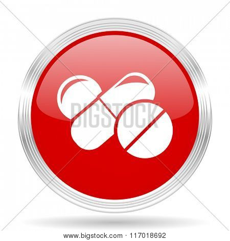medicine red glossy circle modern web icon on white background