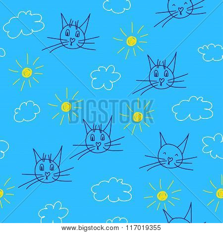Hand Drawn Doodle Seamless Pattern Background With Funny Cats, Sun And Clouds.