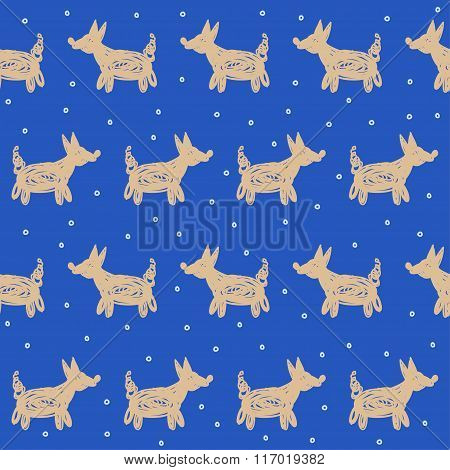 Doodle Abstract Dogs And Snowflakes Seamless Pattern Background.