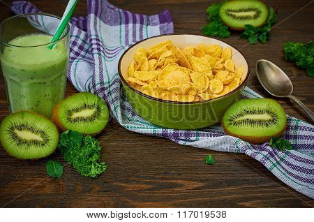Cornflakes with kiwi smoothie
