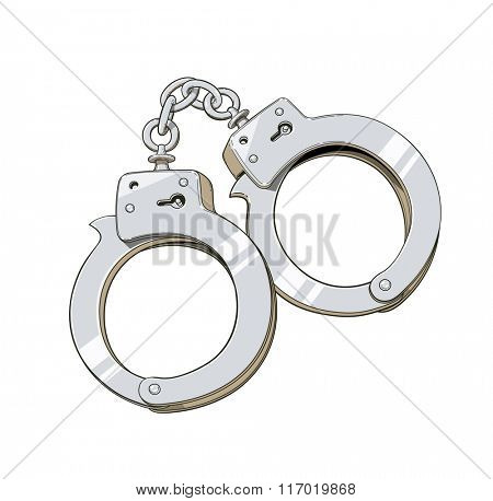 Iron handcuffs for criminalsa. Vector illustration. Isolated on white background. Transparent objects used for lights and shadows drawing