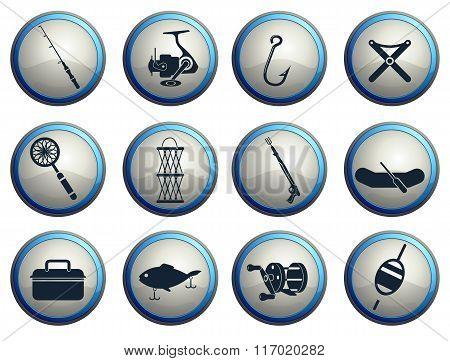 Fishing icon set