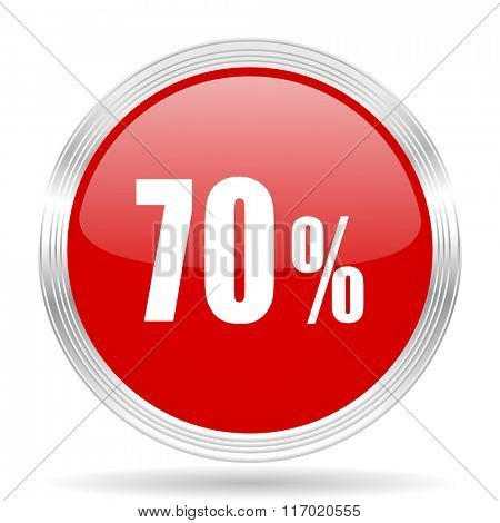 70 percent red glossy circle modern web icon on white background