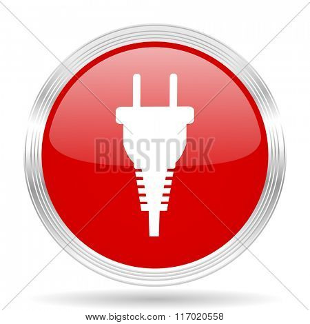 plug red glossy circle modern web icon on white background
