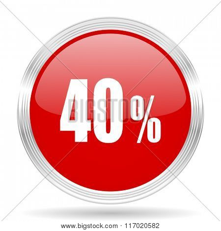 40 percent red glossy circle modern web icon on white background
