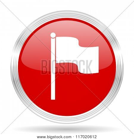 flag red glossy circle modern web icon on white background