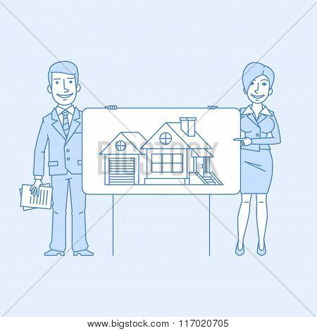 Businessman and business woman point to poster