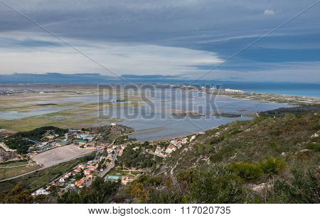 Beautiful rice fields in Albufera, cloudy day, Spain.