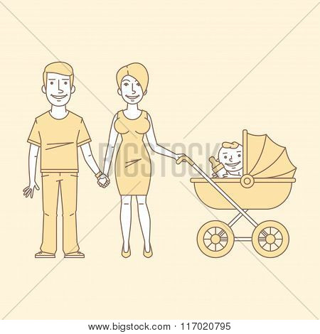 Young couple with stroller