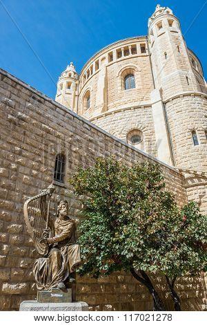 Statue of King David in front of Dormition Abbey on Mount Zion in Jerusalem Israel