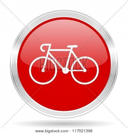 bicycle red glossy circle modern web icon on white background