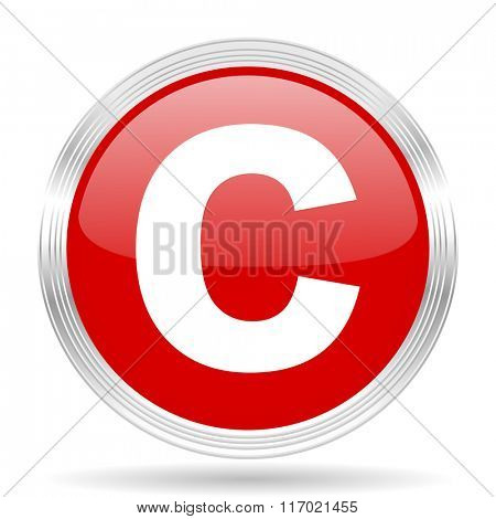 copyright red glossy circle modern web icon on white background