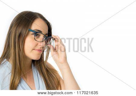 Caucasian woman quits glasses, side view